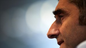 Valverde, en la sala de prensa de la ciudad deportiva del Barça.