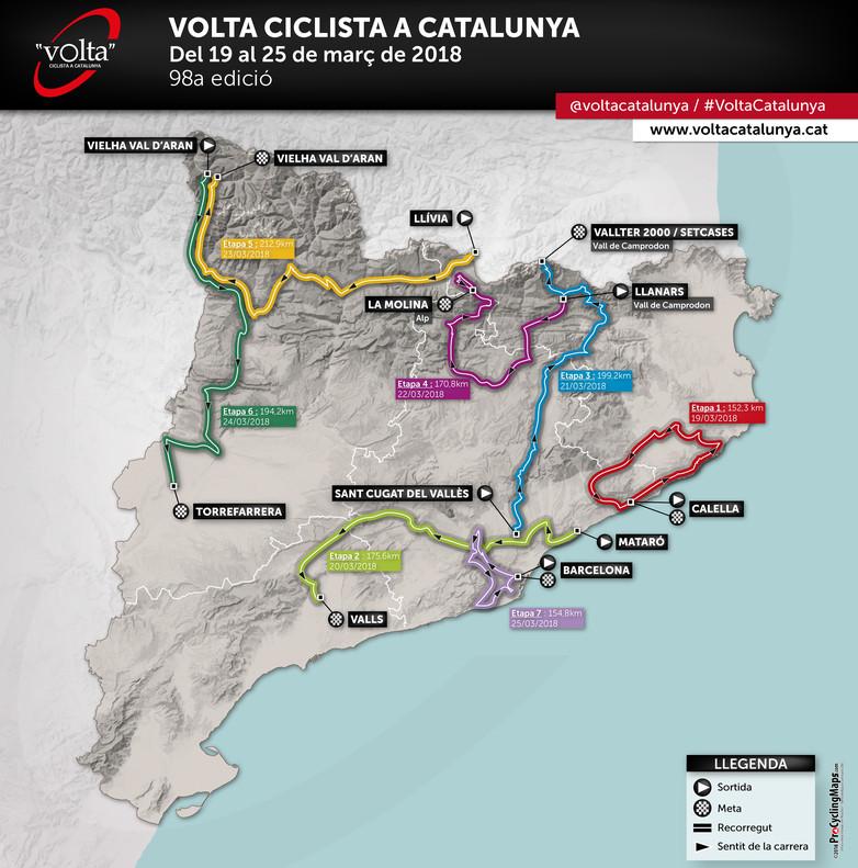 El mapa de Catalunya con las siete etapas.