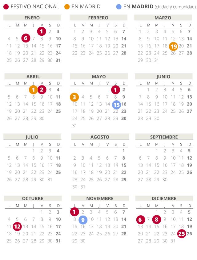 Calendario laboral de Madrid del 2021 (con todos los festivos)