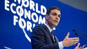 Pedro Sánchez, durante su intervención en el foro de Davos.