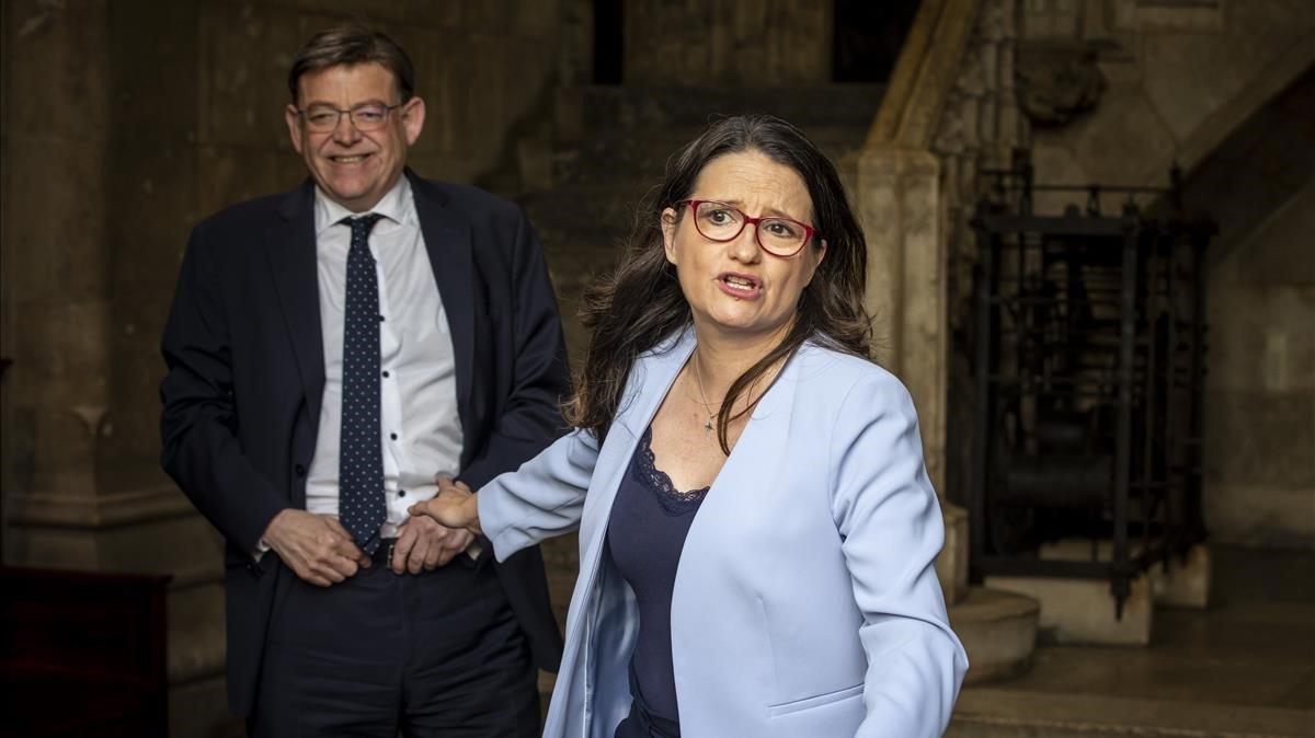 Puig y Oltra este martes tras el breve encuentro que han mantenido en el Palau de la Generalitat