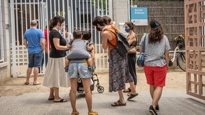 La escuela Entença de Barcelona, durante los últimos días de apertura del pasado junio.