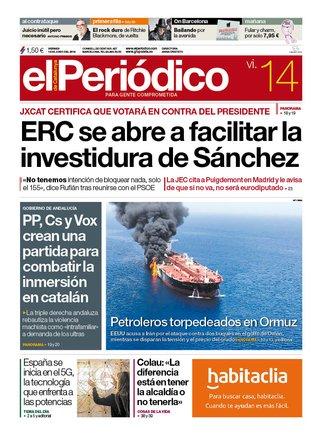La portada d'EL PERIÓDICO del 14 de juny del 2019
