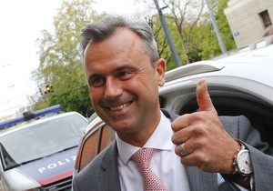 Presidential candidate Norbert Hofer arrives at the party headquarter of the Austrian Freedom party in Vienna