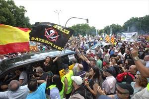 Protesta de taxistas en Madrid contra Uber y Cabify, el 30 de mayo.