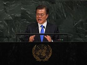 Moon Jae-in, presidente de Corea del Sur, ayer en las Naciones Unidas.