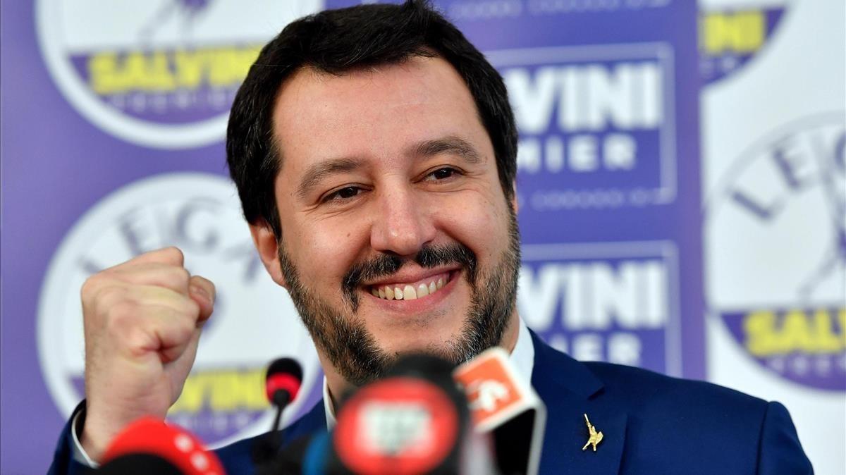 Matteo Salvini, en una rueda de prensa en Milán al día siguiente de las elecciones