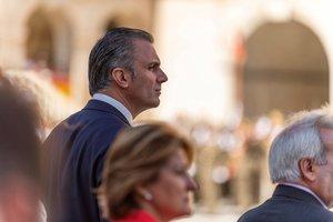 El secretario general de Vox y candidato al Ayuntamiento de Madrid,Javier Ortega Smith, durante un acto en Castilla-La-Mancha.