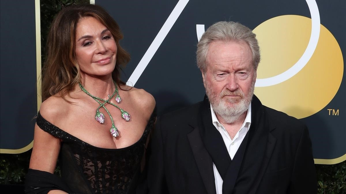 La actriz Giannina Facio y el director de cine Ridley Scott.