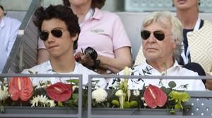 Ángel Nieto, junto a su hijo Hugo, en el Masters Series de tenis de 2016.