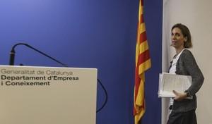 Àngels Chacón durante la presentación del informe anual sobre la industria en Catalunya el 2017.