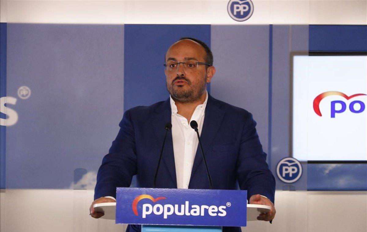 El presidente el PPC, Alejandro Fernández, esta mañana