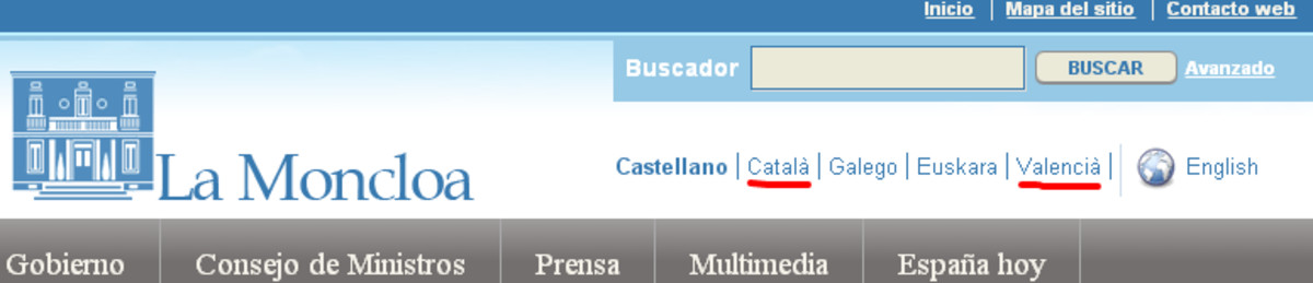 Cabecera de la página web de La Moncloa, que distingue entre catalán y valenciano.
