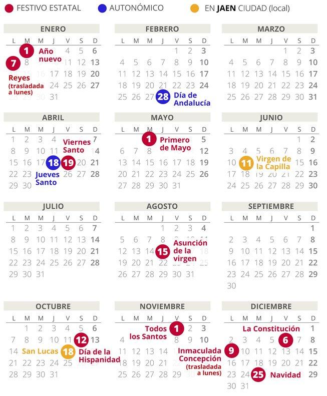 Calendario Laboral Jaen 2020.Calendario Laboral De Jaen Del 2019 Con Todos Los Festivos