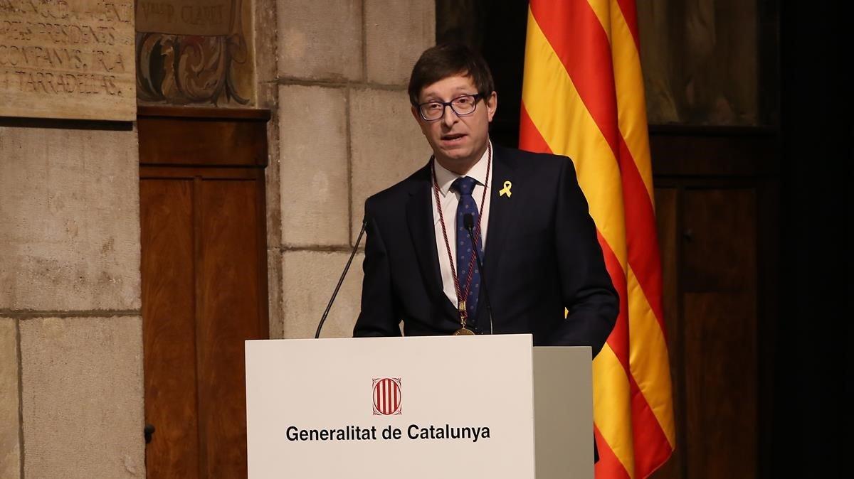 Carles Mundó, este viernes, en la entrega del Premi Justícia 2018 de la Generalitat.