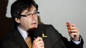 Carles Puigdemont,en su últimaapariciónante los medios, en Berlín.