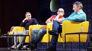 Coloquio sobre Pepe Carvalho en BCNegra: de izquierda a derecha, Marcelo Luján, Alexis Ravelo y Carlos Zanón.