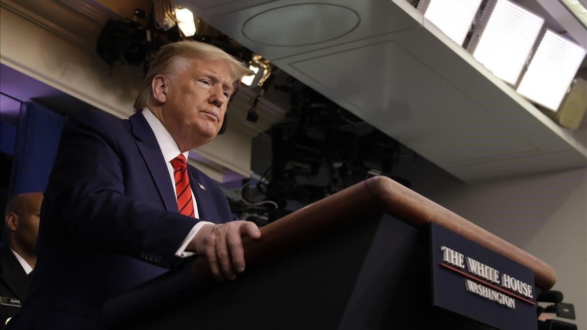 Trump hoy durante la rueda de prensa que ha hecho sobre el coronavirus.