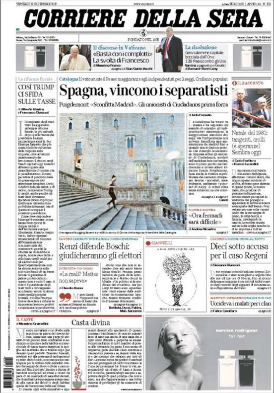 Portada del 'Corriere della sera'.