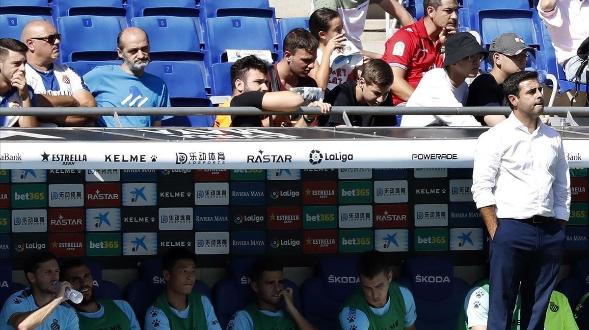 David Gallego, durante el Espanyol-Valladolid.
