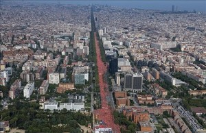 Imagen aérea de la manifestación de la Diada.