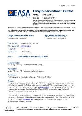 Documento mediante el que EASA prohíbe el vuelo de los aviones Boeing 737-8 y 737-9 MAX por el espacio aéreo europeo (en inglés)