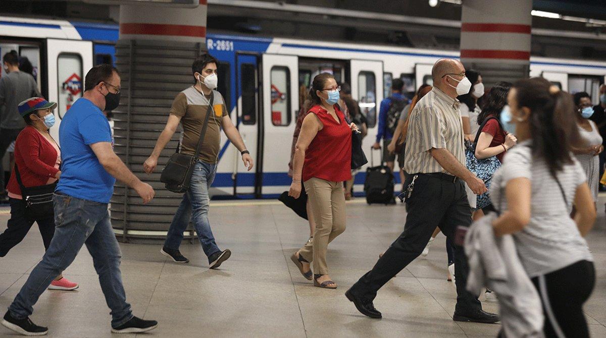 La estación de metro de Atocha, en Madrid, muy concurrida el 22 de junio.