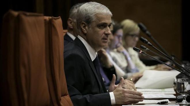 El exconseller de justícia Germà Gordó durante su comparecencia en el Parlament.