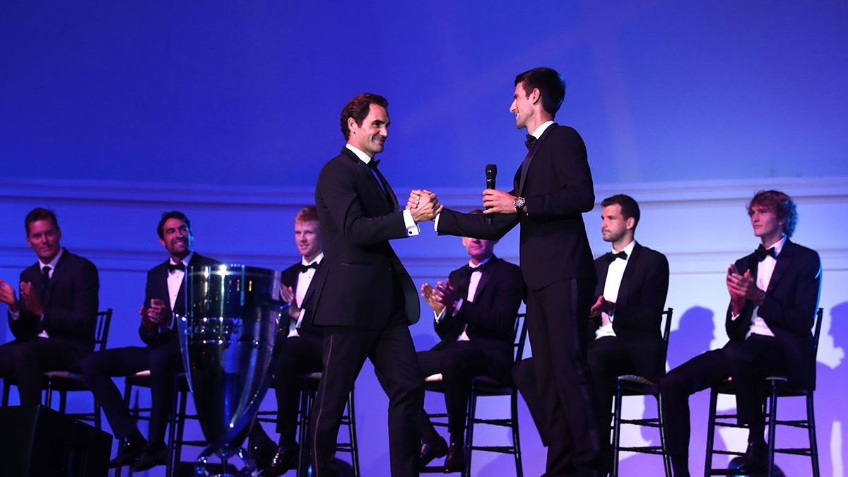 Federer y Djokovic, en la gala previa del torneo.