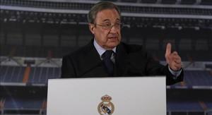 Florentino Pérez este jueves en el Santiago Bernabéu.