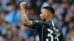 Gabriel Jesus celebra el gol marcado al Brighton en Wembley.