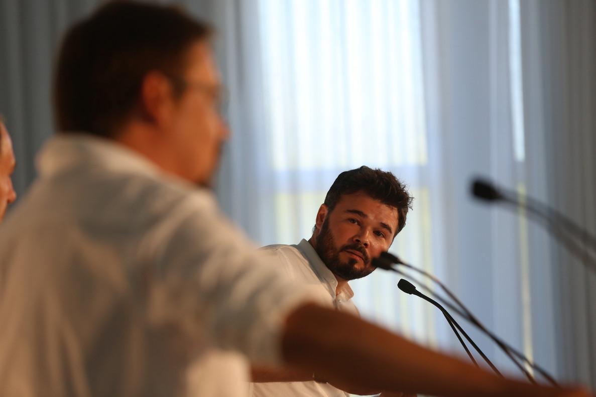 Gabriel Rufián, durante su intervención en el cara a cara con Xavier Domènech, en el foro de debate Primera Plana.