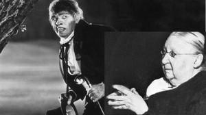 El actor Frederic March interpretando al personaje de Doctor Jekyll y, a su derecha, la paisajista Gertrude Jekyll