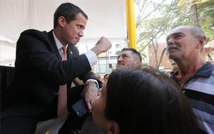 Juan Guaidó en un evento público en Venezuela.