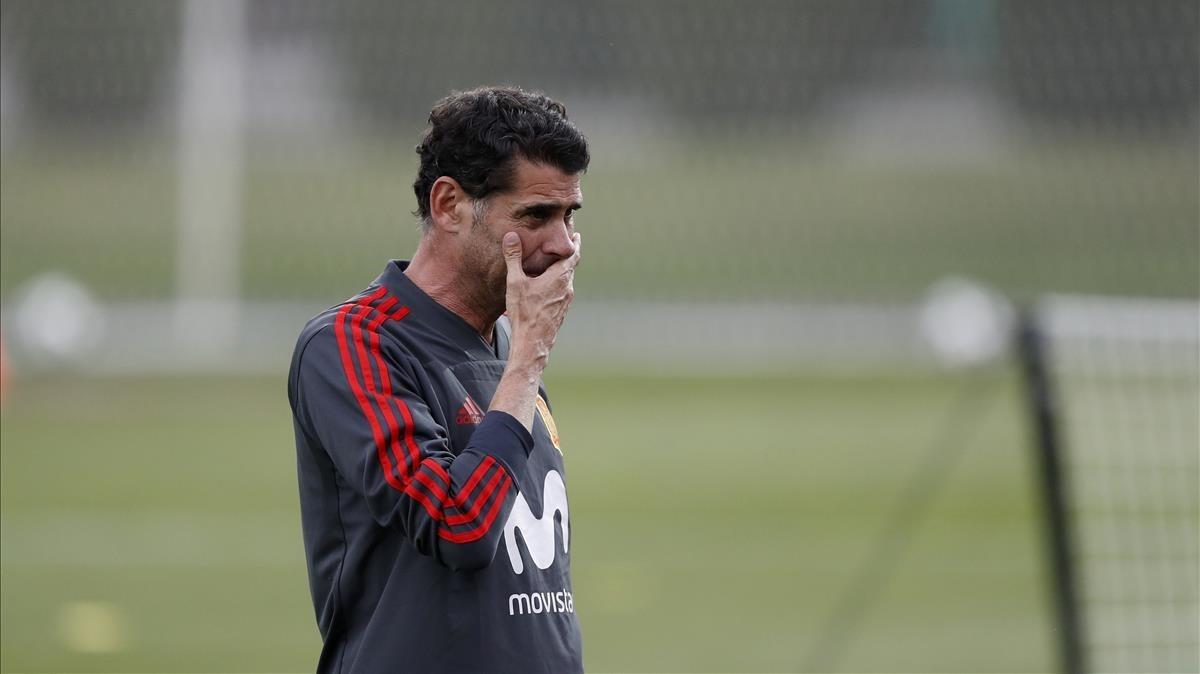 Hierro, en un entrenamiento de la selección española en Krasnodar.