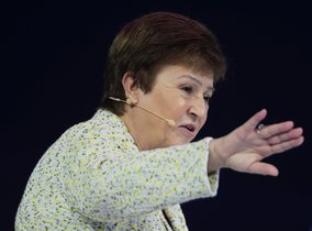 IMF Managing Director Kristalina Georgieva speaks at the Global Women's Forum in Dubai, United Arab Emirates, February 16, 2020. REUTERS/Christopher Pike
