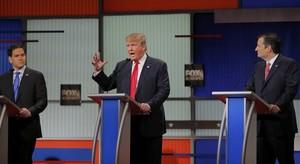 De izquierda a derecha, Marco Rubio, Donald Trump y Ted Cruz, durante el debate republicano.
