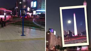 A la izquierda, uno de los postes situado en 20 enclaves de Buenos Aires. Al lado, cómo queda el icónico Obelisco con el invento.