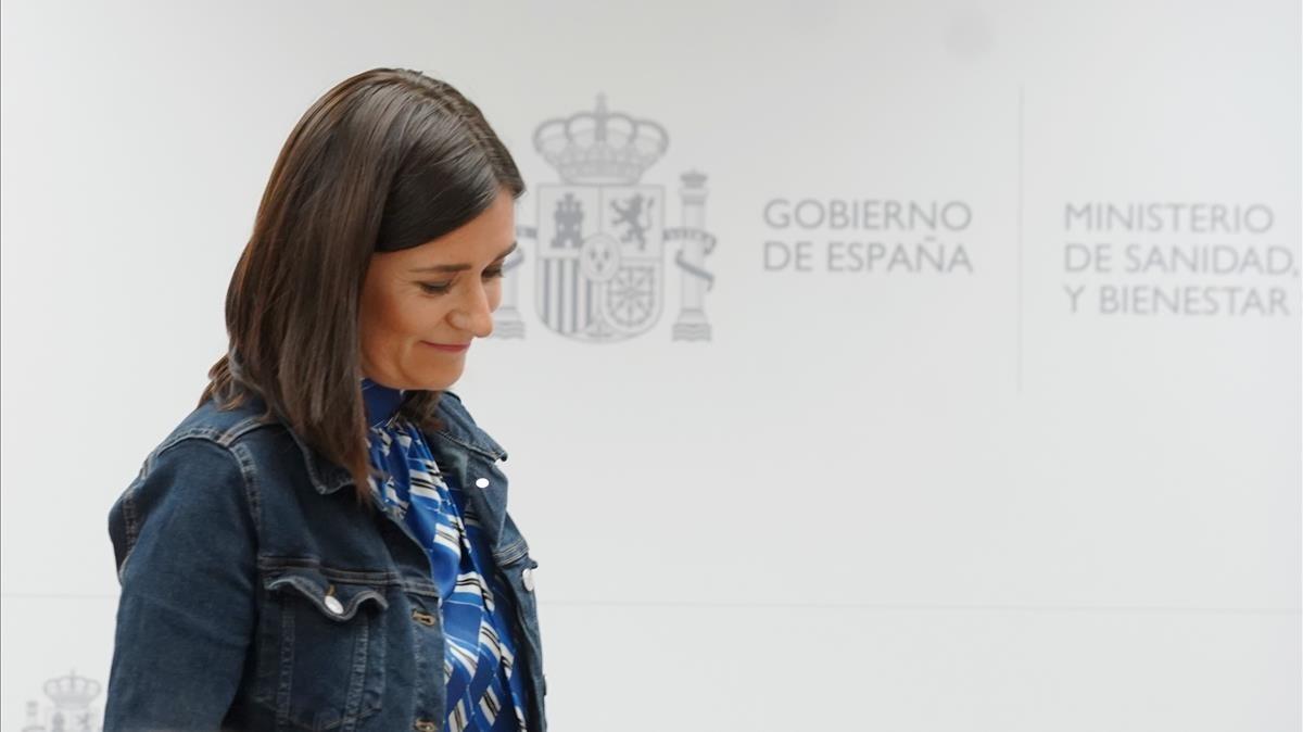 Carmen Montón en la rueda de prensa en la que ha anunciado su dimisión.