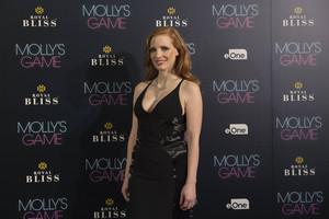 Jessica Chastain, en Madrid, durante la presentación de 'Molly's game'.