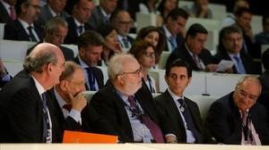 JoséMaría Álvarez-Pallete, presidente de Telefónica (segundo por la derecha), en las jornadas sobre Transformación Digital.