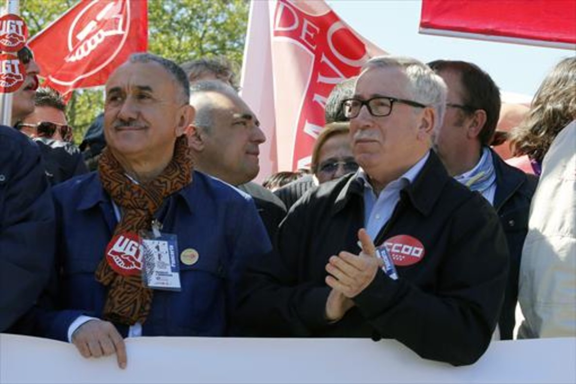 Josep Maria Álvarez e Ignacio Fernández Toxo, en Madrid.