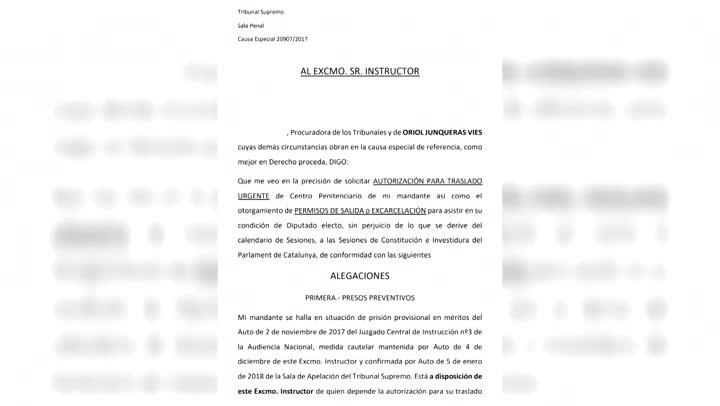 Junqueras solicita ser excarcelado para los plenos de constitución del Parlament.