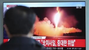 El lanzamiento del misil en televisión.