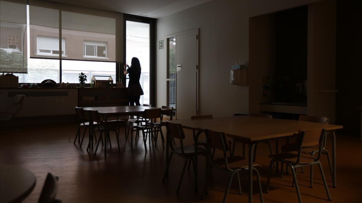 Las aulas de la escuela l'Univers, sin actividad.