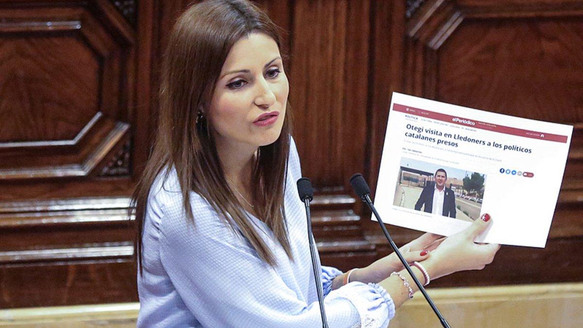 Lorena Roldán, en una sesión del Parlament.