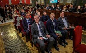 Los líderes independentistas acusados por el procés, en el juicio que se sigue en el Tribunal Supremo.