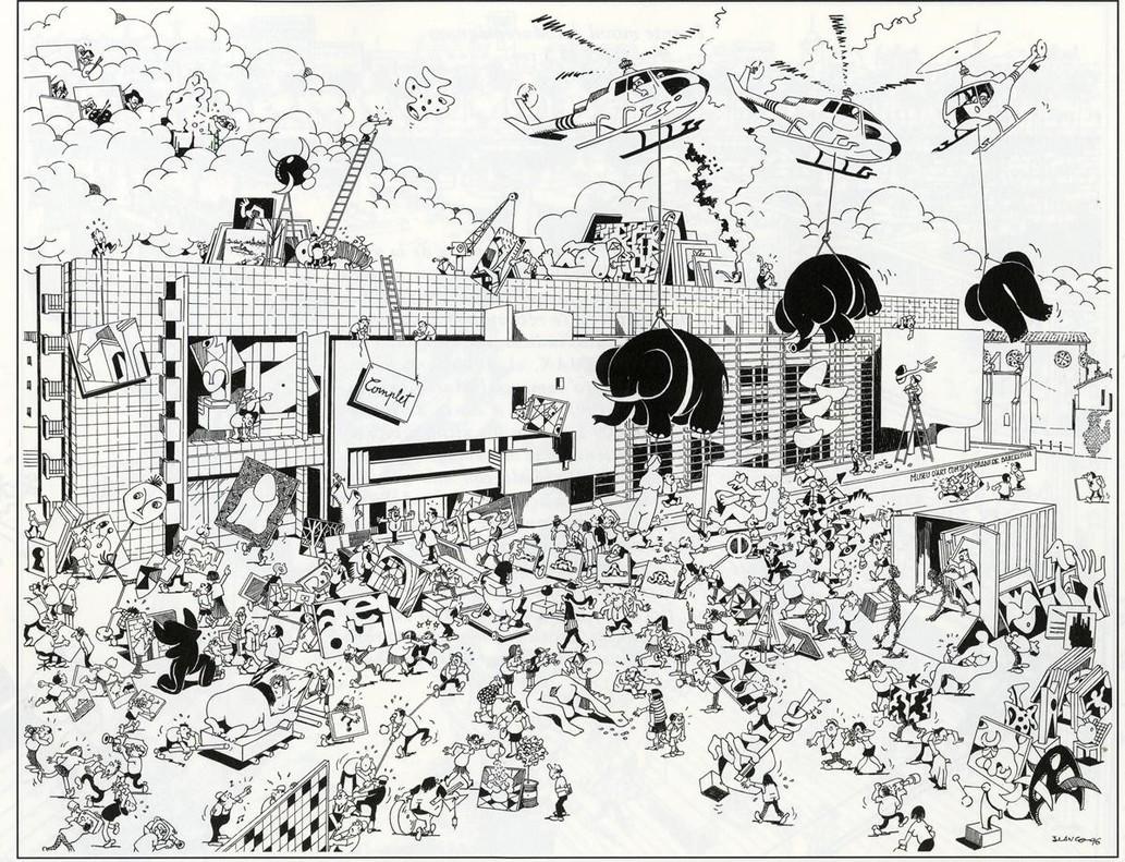 El Macba, en una de las láminas inéditas de la nueva edición de 'Barcelona, de Blanco'.
