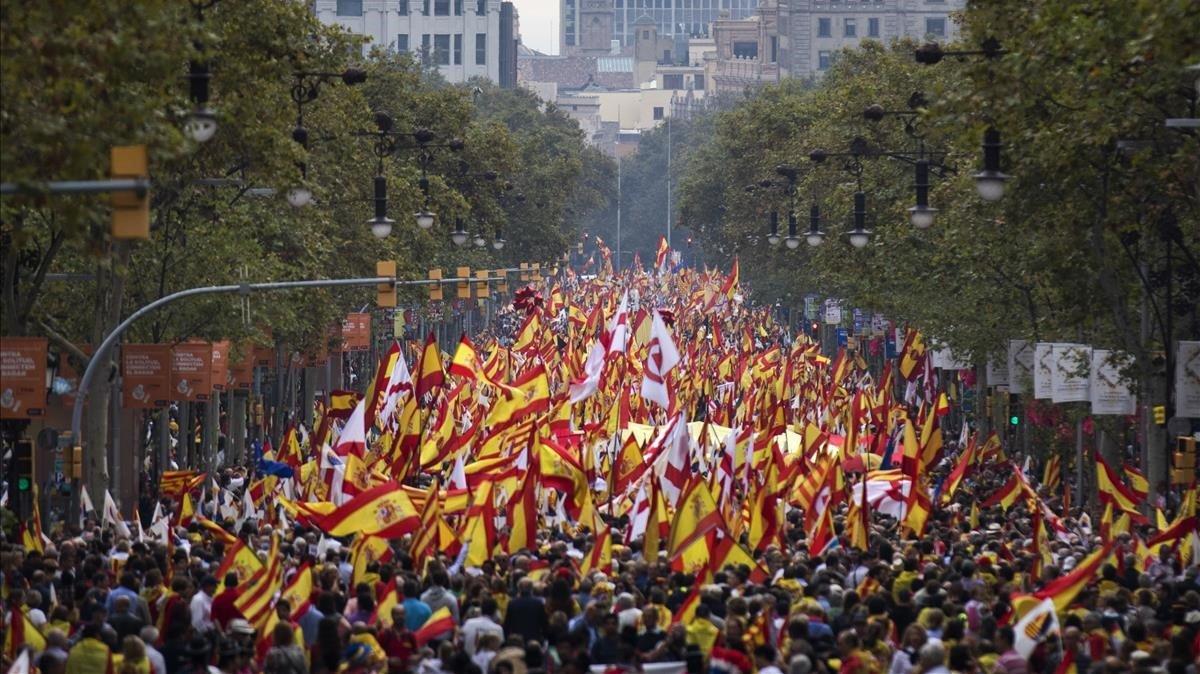 Manifestación del movimiento Espanya i Catalans, en Barcelona.