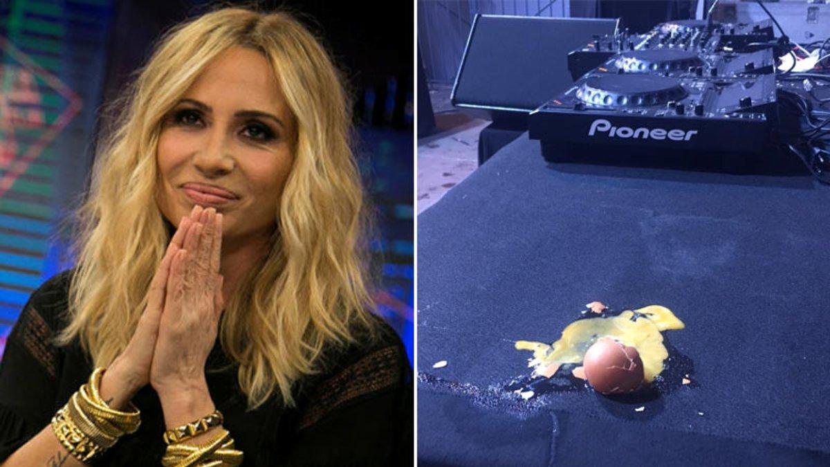 Marta Sánchez, obligada a suspendre un concert a Badalona per llançament d'ous | Vídeo